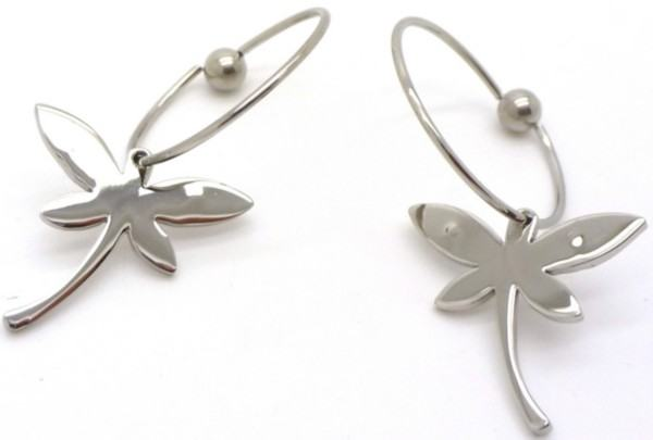 Joyas de acero quirurgico por mayor, Aros. Aros de argolla con libélula-Joyas de Acero-Aros-EA0544