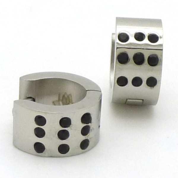 Joyas de acero quirurgico por mayor, Aros. argolla de 7 mm de ancho con 9 circones negros-Joyas de Acero-Aros-EA0578N