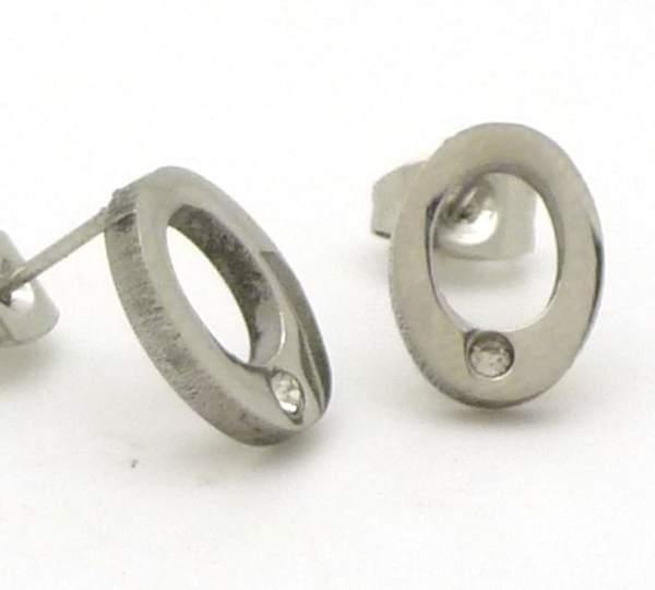 Joyas de acero quirurgico por mayor, Aros. Aros de acero con circón, ovalados de 8mm x 12mm, calado-Joyas de Acero-Aros-EA0622