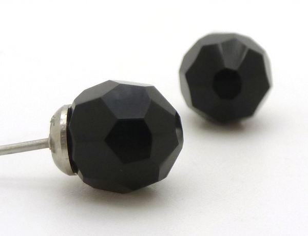 Joyas de acero quirurgico por mayor, Aros. aro de cristal negro facetado, de 7mm de diám aprox-Joyas de Acero-Aros-EA0625
