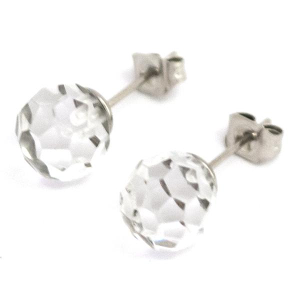 Joyas de acero quirúrgico por mayor, delicado cristal facetado, diámetro 8 mm-Joyas de Acero-Aros-EA0625C