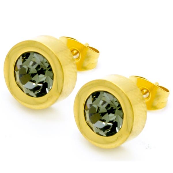 Joyas de acero quirúrgico por mayor, aros acero dorado y un pequeño circón gris en en medio, tamaño-Joyas de Acero-Aros-EA0690G