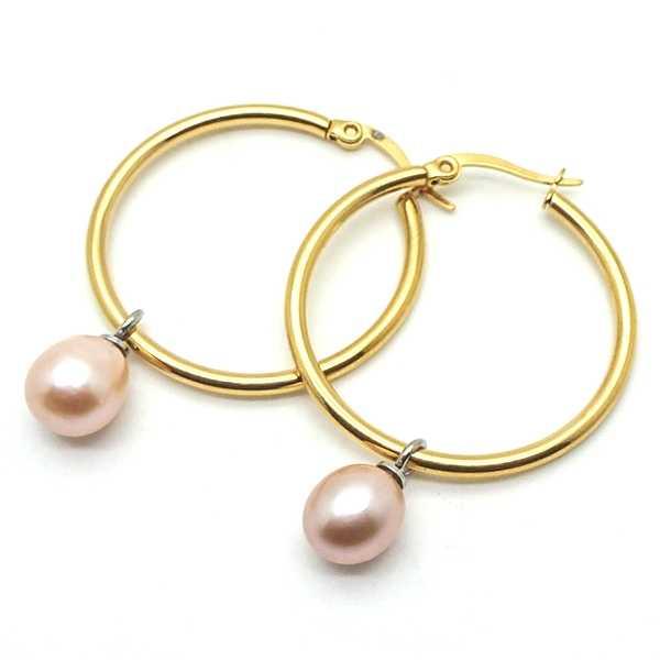 Joyas de acero quirurgico por mayor, Aros. Argolla dorada de 30 mm con perla de rio rosado de 8 mm-Súper Ofertas--EA0694L