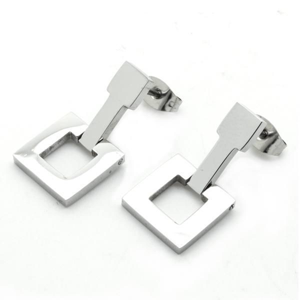 Joyas de acero quirurgico por mayor, Aros. Aros de 2 cms de alto aprox, con cuadrado calado-Joyas de Acero-Aros-EA0726