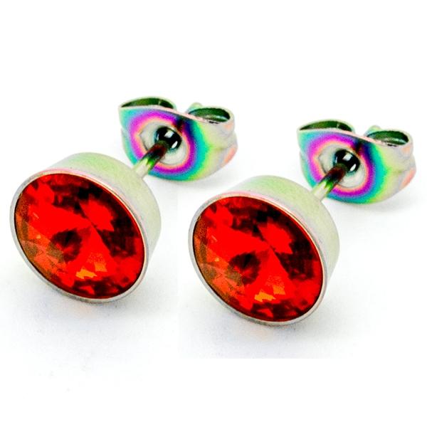 Joyas de acero quirurgico por mayor, Aros. aro de 8 mm con terminacion en color tornasol y circon ro-Joyas de Acero-Aros-EA0784R