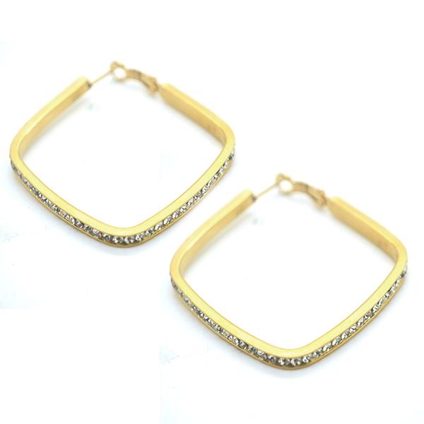 Joyas de acero quirúrgico por mayor, aros argolla dorada de forma cuadrada y circones alrededor, diá-Joyas de Acero-Aros-EA0808
