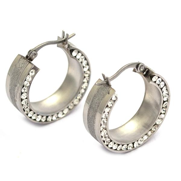 Joyas de acero quirúrgico por mayor, argolla diamantada y circones incrustados, diámetro 2,5 cm-Joyas de Acero-Aros-EA0864L