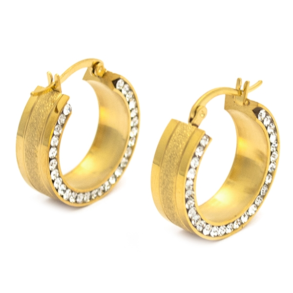 Joyas de acero quirúrgico por mayor, argolla diamantada dorada y circones incrustados, diámetro 2,5-Joyas de Acero-Aros-EA0864DL