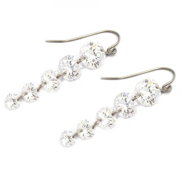 Joyas de acero quirúrgico por mayor, delicado diseño con cristales en disminución, largo 5 cm-Joyas de Acero-Aros-EA0866
