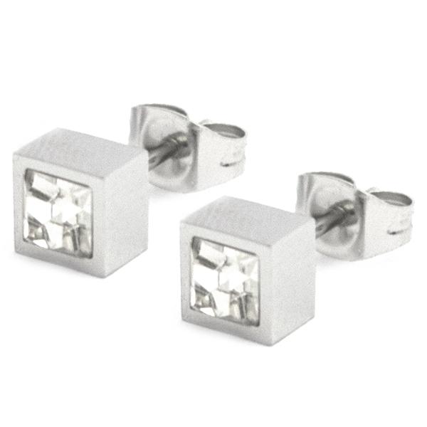 Joyas de acero quirúrgico por mayor, diseño moderno con cristal, tamaño 5 mm-Joyas de Acero-Aros-EA0869