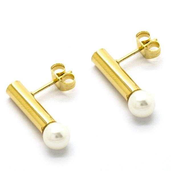 moderno y femenino diseño con terminación en perla,largo 3 cm-Joyas de Acero-Aros-EA0940D