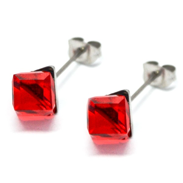 Aros-Joyas de ACERO por mayor. delicado aro de acero en forma de cubo color rojo su tamaño es de 0,6-Joyas de Acero-Aros-EA0995R