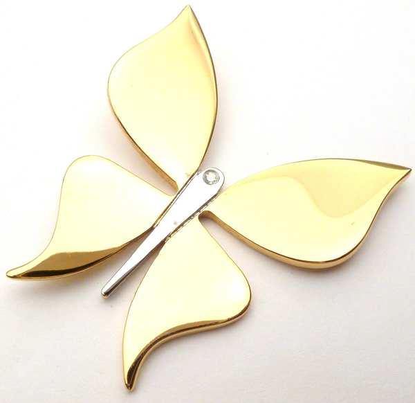 Joyas de acero quirurgico por mayor, colgante. Mariposa dorada 35mm por 40mm y un circon-Joyas de Acero-Colgantes-PA0101