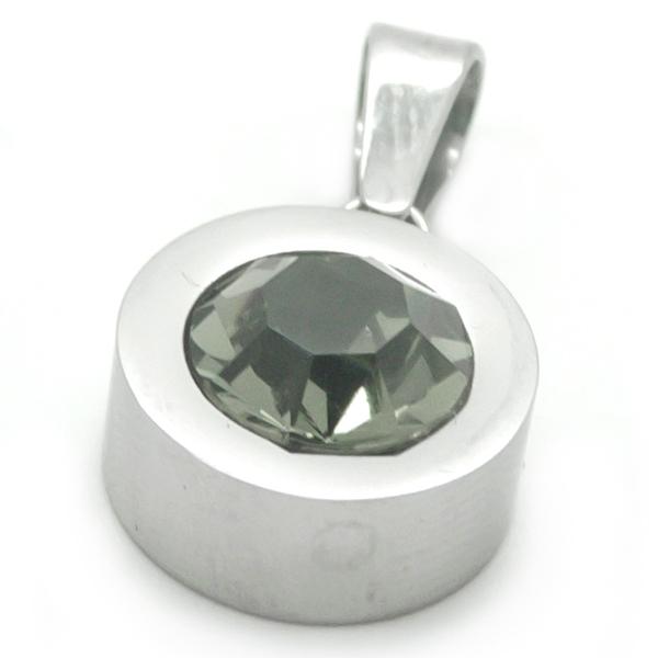 Joyas de acero quirurgico por mayor, colgante. Circón gris de 10mm con bordes de acero-Joyas de Acero-Colgantes-PA0109G