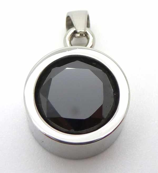 Joyas de acero quirurgico por mayor, colgante. Acero con Cristal Negro 10mm-Joyas de Acero-Colgantes-PA0109N