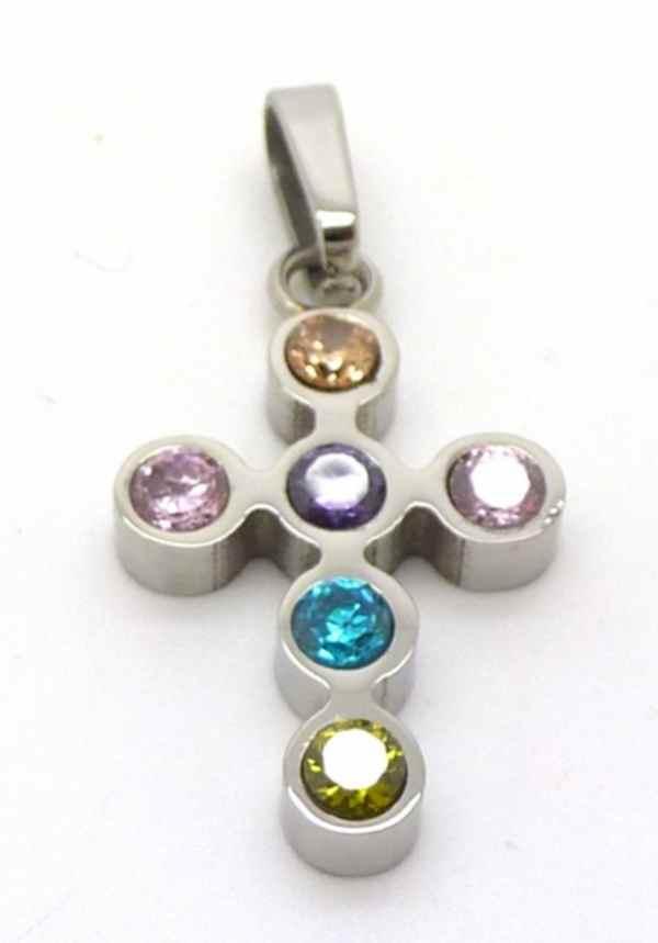 Joyas de acero quirurgico por mayor, colgante. Cruz con circones de colores, de 25mm de alto-Súper Ofertas--PA0209L