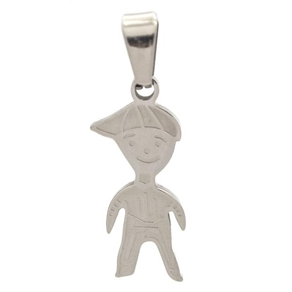Joyas de acero quirurgico por mayor, colgante. colgante niño, simple, pulido con detalle bajo relie-Joyas de Acero-Colgantes-PA0230