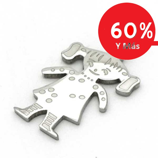 Joyas de acero quirurgico por mayor, colgante. Placa diseño niña de 36 mm de alto-Joyas de Acero-Colgantes-PA0230M