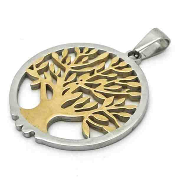 Joyas de acero quirurgico por mayor, colgante. Placa redonda con árbol de la vida dorado 47 mm de a-Joyas de Acero-Colgantes-PA0264