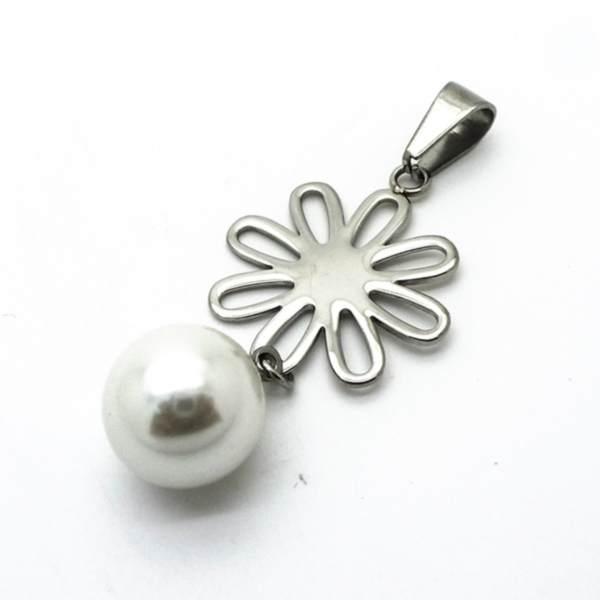 Joyas de acero quirurgico por mayor, colgante. 50 mm de alto placa diseño flor unida a perla de 12-Joyas de Acero-Colgantes-PA0265L