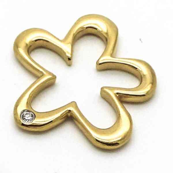 Joyas de acero quirurgico por mayor, colgante. 28 mm de alto diseño flor dorada con circon-Joyas de Acero-Colgantes-PA0268