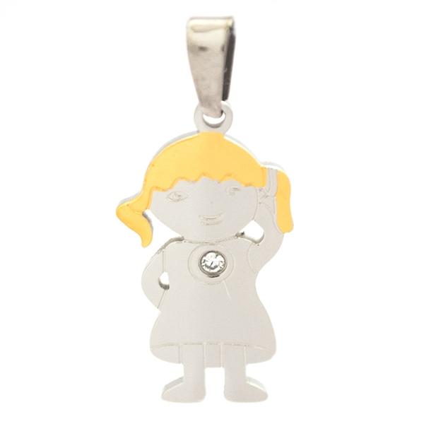 Joyas de acero quirurgico por mayor, colgante. Placa diseño niña bicolor de 35 mm de alto con circó-Joyas de Acero-Colgantes-PA0272C