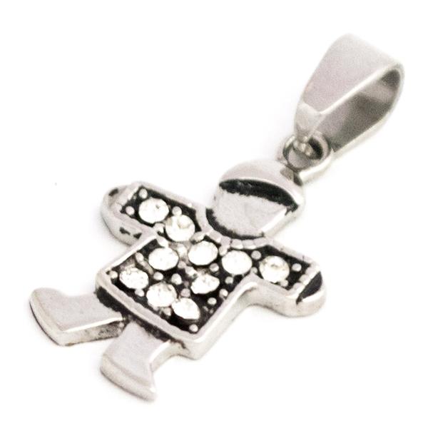 Joyas de acero quirurgico por mayor, colgante. Diseño niño de 26 mm de alto con circones de color c-Joyas de Acero-Colgantes-PA0273H