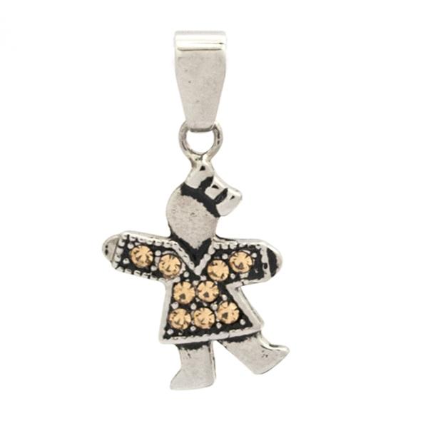 Joyas de acero quirurgico por mayor, colgante. 26 mm de alto diseño niña con circones de color amar-Joyas de Acero-Colgantes-PA0273M