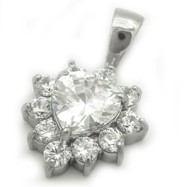 Joyas de acero quirurgico por mayor, Colgantes, colgante acero con cristal y circones, largo 2,5 cm-Joyas de Acero-Colgantes-PA0285