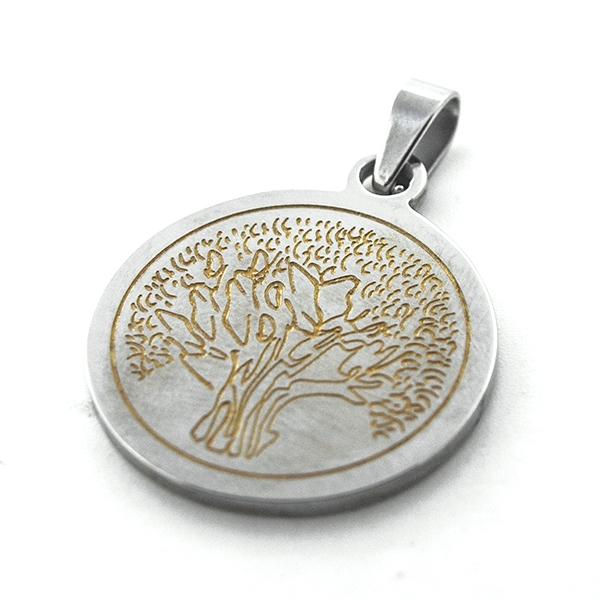 Joyas de acero quirúrgico por mayor, Colgantes, colgante bicolor diseño árbol de la vida, diámetro 2-Joyas de Acero-Colgantes-PA0291
