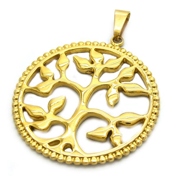 árbol de la vida esmaltado dorado, diámetro 4,4 cm-Joyas de Acero-Colgantes-PA0297L