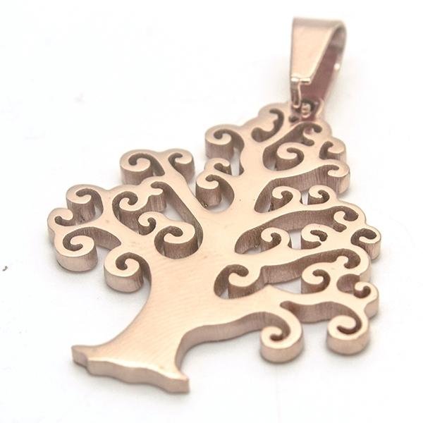 Joyas de acero quirúrgico por mayor, colgantes, árbol de vida color cobre, símbolo de estabilidad, l-Joyas de Acero-Colgantes-PA0302
