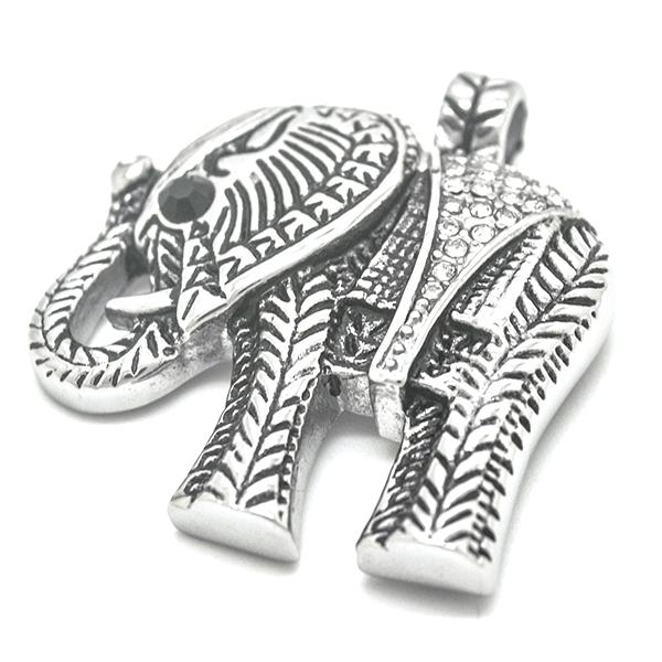 Joyas de acero quirúrgico por mayor, colgantes, figura de elefante envejecido con circones incrustad-Joyas de Acero-Colgantes-PA0304