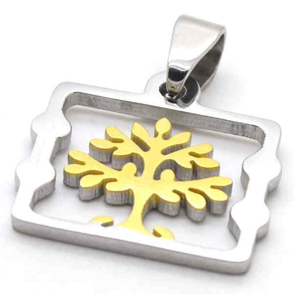 Joyas de acero quirúrgico por mayor, colgantes, árbol de vida bicolor, símbolo de estabilidad, largo-Joyas de Acero-Colgantes-PA0321