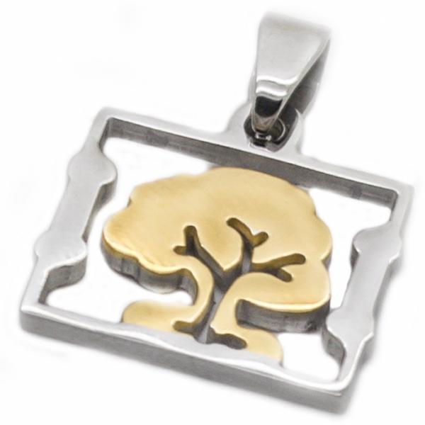 Joyas de acero quirúrgico por mayor, colgantes, árbol de vida bicolor, símbolo de estabilidad, largo-Joyas de Acero-Colgantes-PA0322L