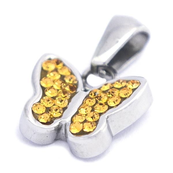 diseño juvenil y cristales incrustados, largo 2,3 cm-Joyas de Acero-Colgantes-PA0323YL