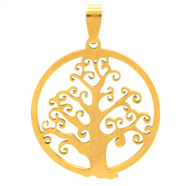 Joyas de acero quirúrgico por mayor, amuleto de protección dorado, diámetro 3,5 cm-Joyas de Acero-Colgantes-PA0333