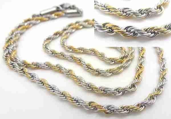 Joyas de acero quirurgico por mayor, cadenas y collares. Cadena turbillon mixto(dorado y plateado)-Joyas de Acero-Collares-NA0034