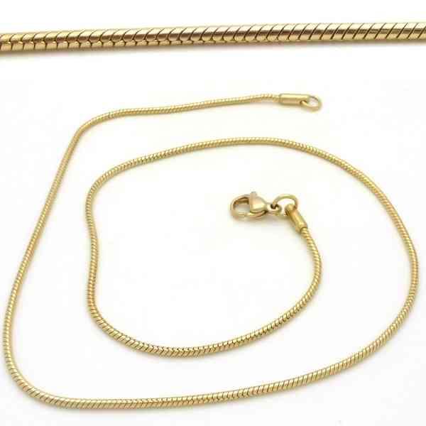 Joyas de acero quirurgico por mayor, cadenas y collares. 45 cm de largo cordón redondo dorado de 1,-Joyas de Acero-Collares-NA0070D