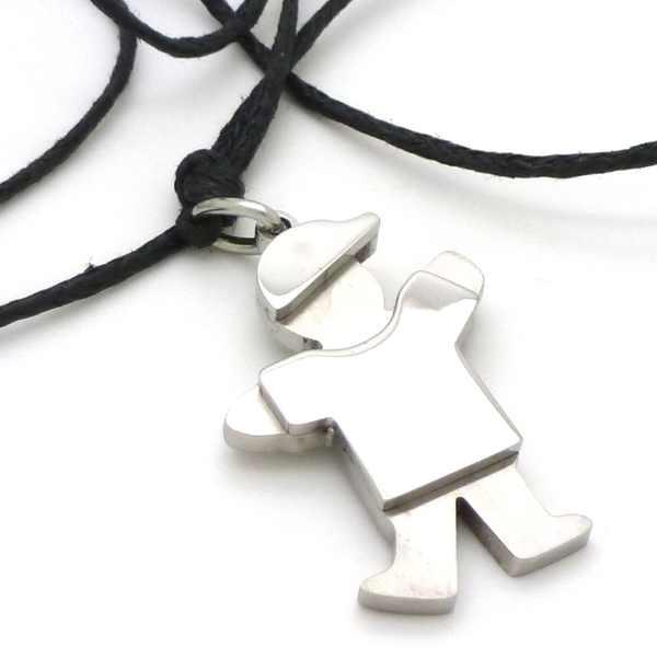 Joyas de acero quirurgico por mayor, cadenas y collares. niño de 36 mm de alto con hilo cerado de 5-Joyas de Acero-Collares-NA0083