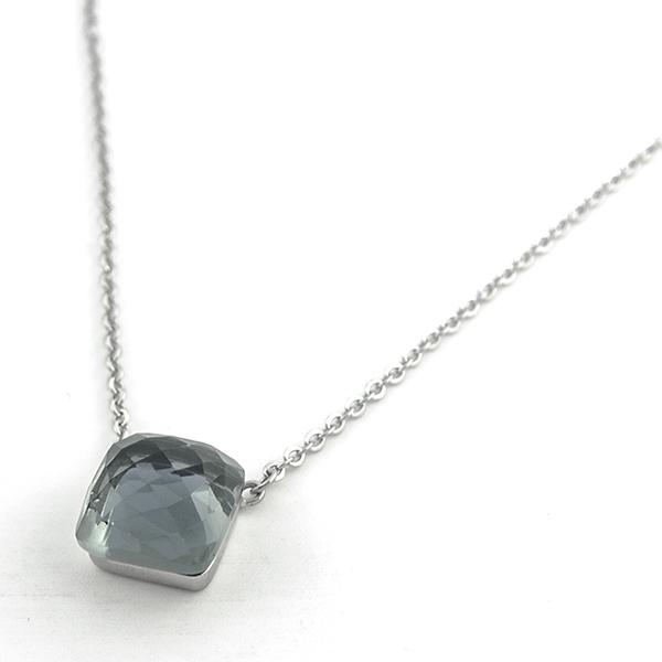 Joyas de acero quirúrgico por mayor, collares, collar de acero con un cristal facetado,largo 54 y 57-Joyas de Acero-Collares-NA0097GL