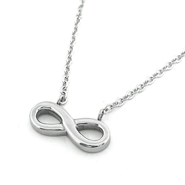 Joyas de acero quirúrgico por mayor, Collares, collar acero y un pequeño símbolo del infinito, largo-Joyas de Acero-Collares-NA0102