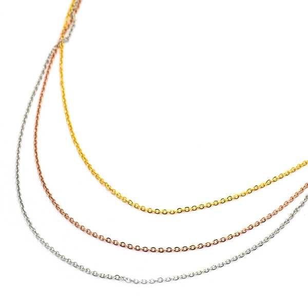 Joyas de acero quirúrgico por mayor, cadena triple dorada plata y cobre, largo 45 cm-Joyas de Acero-Collares-NA0142