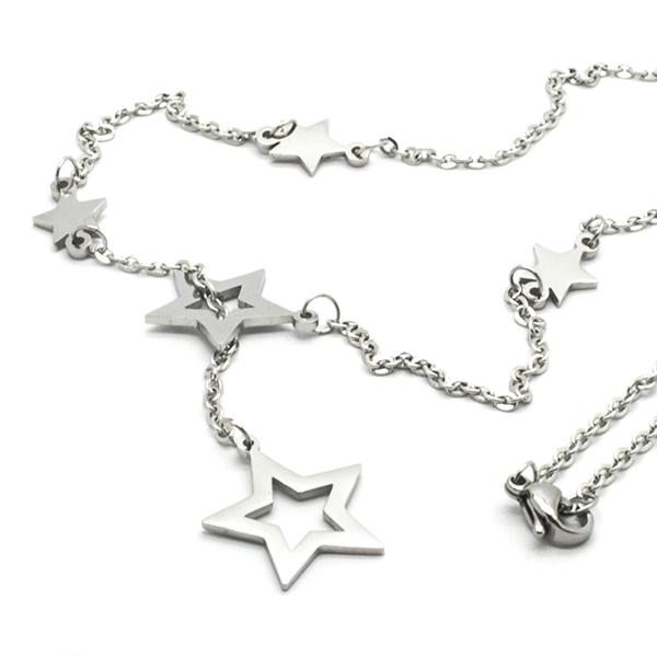 Joyas de acero quirúrgico por mayor, collar diseño juvenil y estrellas , largo 45 cm-Joyas de Acero-Collares-NA0144