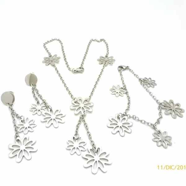 Joyas de acero quirurgico por mayor. Conjunto, pulsera de cadena, collar 60 cm de largo y aro 65 mm-Joyas de Acero-Conjuntos-CA0025