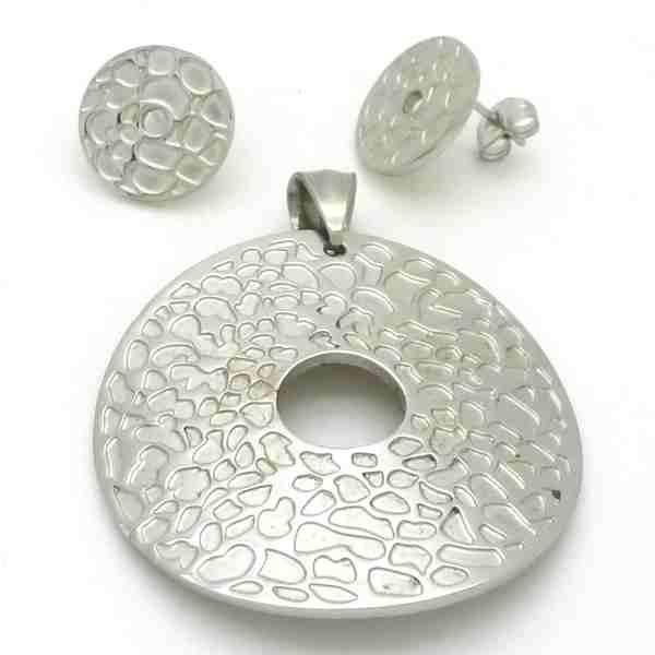 Joyas de acero quirurgico por mayor. Conjunto, colgante de 40 mm redondo brillante curvo con diseños-Joyas de Acero-Conjuntos-CA0026