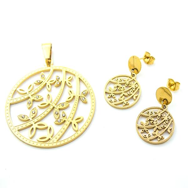 Joyas de acero quirúrgico por mayor, Conjuntos conjunto acero dorado, diseño en filigrana (aros 3 cm-Joyas de Acero-Conjuntos-CA0048L