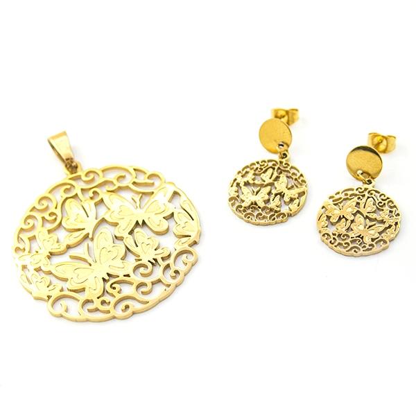 Joyas de acero quirúrgico por mayor, Conjuntos conjunto acero dorado, diseño de mariposas en filigra-Joyas de Acero-Conjuntos-CA0049L