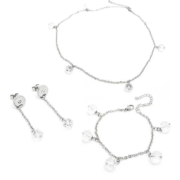 Joyas de acero quirúrgico por mayor, conjunto de acero y cristal facetado-Joyas de Acero-Conjuntos-CA0054