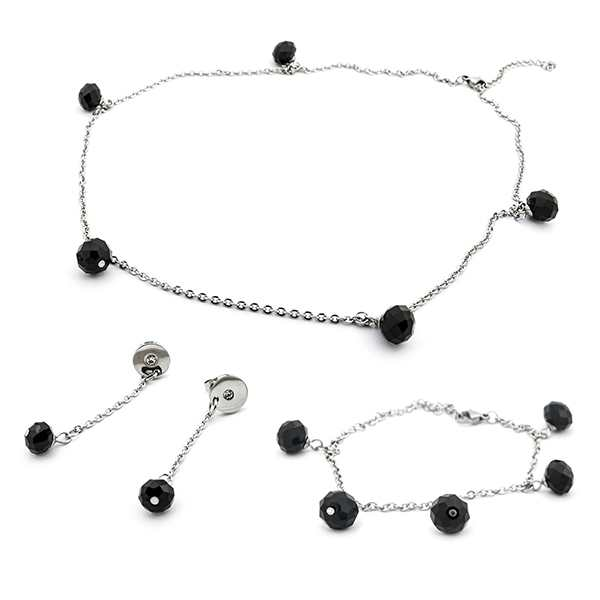 Joyas de acero quirúrgico por mayor, conjunto de acero y cristal negro facetado-Joyas de Acero-Conjuntos-CA0054N